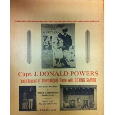 Capt. J. Donald Powers - Vintage Ventriloquist Windowcard / Poster